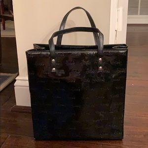 Harrods Black Patent Logo Tote Bag